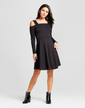 photo Cold Shoulder Fit and Flare Dress by Mossimo, color Black - Image 1