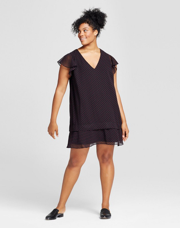 photo Plus Size Ruffle Dress by Who What Wear, color Black Polka Dot - Image 1