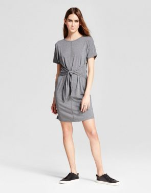 photo Short Sleeve Tie Front Dress by Mossimo, color Grey - Image 1