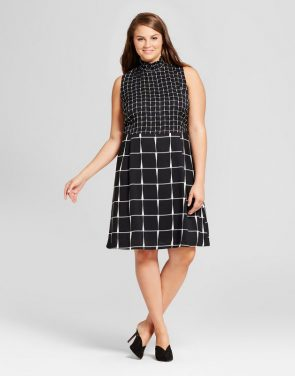 photo Plus Size Smocked Neck Mini Dress by Who What Wear, color Black/White Plaid - Image 1
