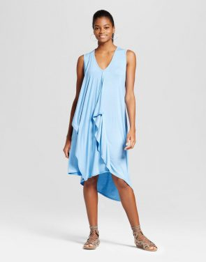 photo Asymmetrical Ruffle Dress by Alison Andrews, color Blue - Image 1