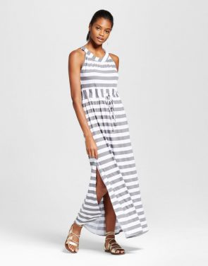 photo Stripe Tie Waist Maxi Dress by Alison Andrews, color Grey/White - Image 1