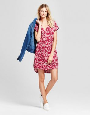 photo Printed Short Sleeve Crepe Dress by A New Day, color Cherry - Image 1