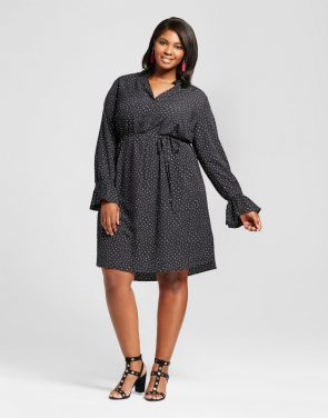 photo Plus Size Printed Flutter Sleeve Dress by Ava & Viv, color Black/White - Image 1