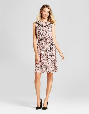 photo Leaf Printed Tie Waist Dress with Lace Inset by Isani for Target, color Black/Coral/Cream - Image 1