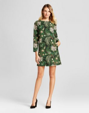 photo Floral Paisley Printed Shift Dress by Isani for Target, color Black/Green - Image 1