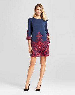 photo Paisley Border Printed Shift Dress by Isani for Target, color Navy/Magenta - Image 1