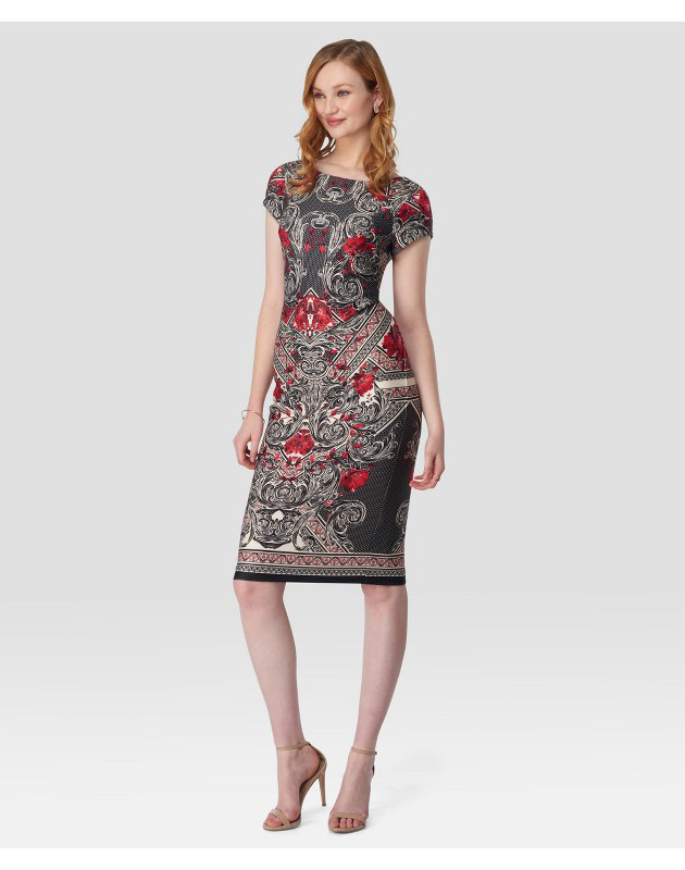 photo Printed Midi Sheath Dress by Sami & Dani, color Ivory/Red - Image 1