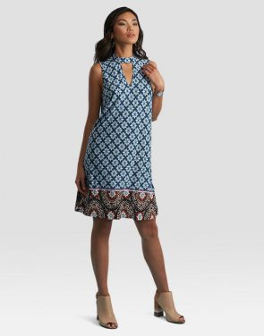 photo Printed Halter Neck Dress by Sami & Dani - Blue/Teal, color Blue/Teal - Image 1