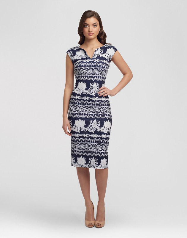 photo V-Neck Printed Sheath Dress by Sami & Dani, color Navy/Ivory - Image 1