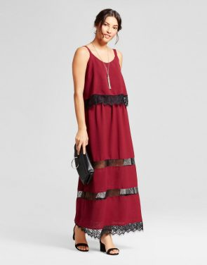 photo Lace Trim Popover Dress by Notations, color Burgundy Modish, Red - Image 1