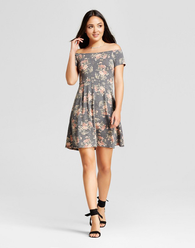 photo Off the Shoulder Dress with Flared Skirt by Vanity Room Black Floral, color Black Floral - Image 1