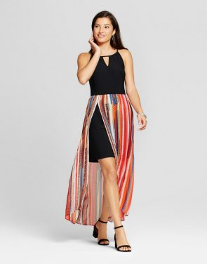 photo Striped Halterneck Maxi Dress by Sami & Dani, color Red/Black - Image 1