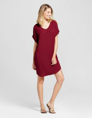 photo V-Neck Roll Sleeve Shift Dress by Zac & Rachel, color Wine Red - Image 1