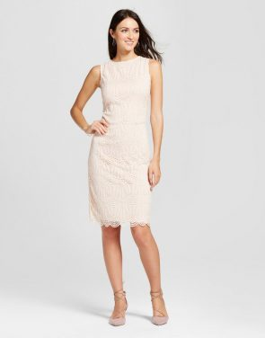 photo Scoop Neck Lace Sheath Dress by Zac & Rachel, color Blush - Image 1