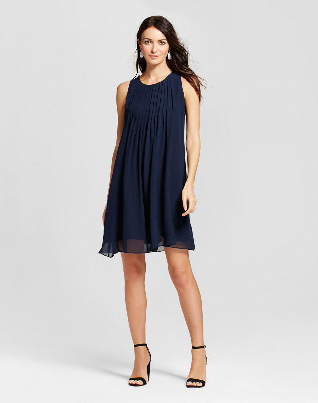 photo Pleated Chiffon Trapeze Tank Dress by Zac & Rachel, color Navy - Image 1