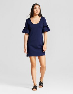 photo Ruffle Sleeve Shift Dress by Vanity Room, color Navy - Image 1