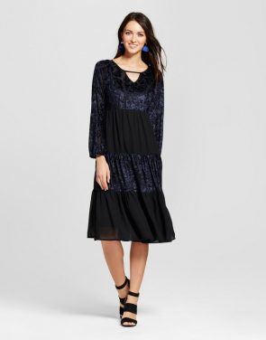photo Velvet Burnout Tiered Midi Dress with Built in Slip by Knox Rose, color Black - Image 1