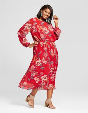 photo Plus Size Printed Pleated Cold Shoulder Dress by Ava & Viv, color Red - Image 1