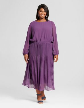 photo Plus Size Pleated Cold Shoulder Dress by Ava & Viv, color Purple - Image 1