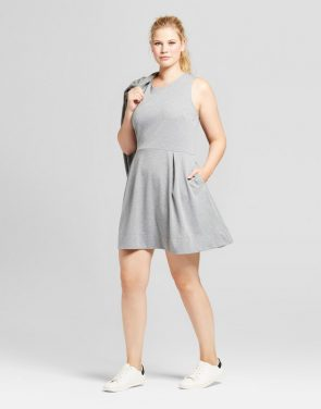 photo Plus Size Ponte Fit & Flare Dress by A New Day Gray, color Grey - Image 1