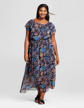 photo Plus Size Floral Short Sleeve Maxi Dress by A New Day, color Multi - Image 1