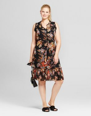 photo Plus Size Floral Pleated Trim Midi Dress by A New Day, color Multi - Image 1
