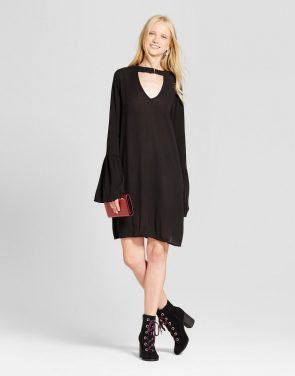 photo Long Sleeve Woven Dress by Mossimo Supply Co., color Black - Image 1