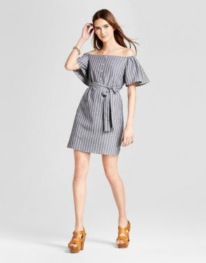 photo Striped Off the Shoulder Tie Waist Dress by Eclair, color Grey - Image 1