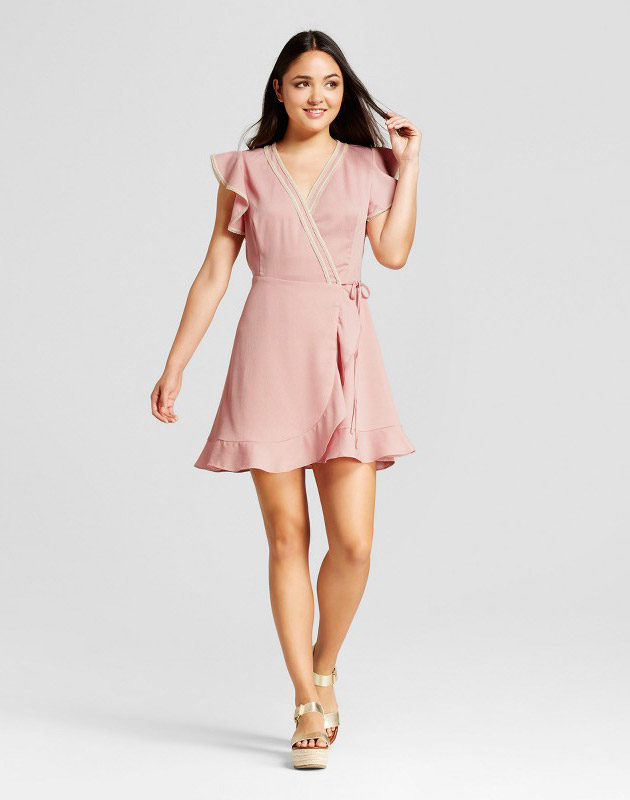 photo Lace Trim Ruffle Sleeve Wrap Dress by Eclair, color Rose Pink - Image 1
