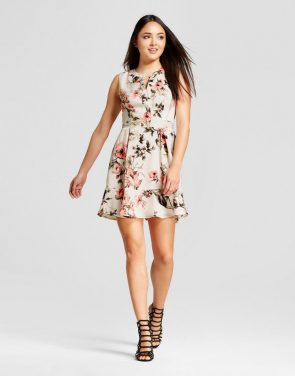 photo Floral V-Neck Fit n' Flare Dress by Eclair, color Multi - Image 1