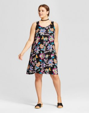 photo Plus Size Sleeveless Texture Dress by Xhilaration, color Black Floral - Image 1