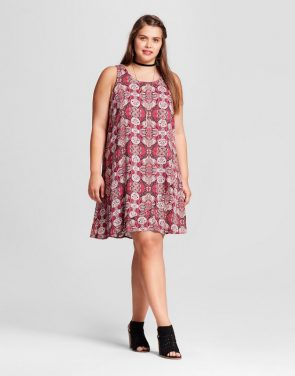 photo Plus Size Sleeveless Texture Dress Geo Print by Xhilaration, color Red - Image 1