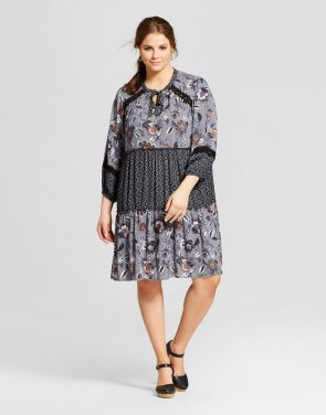 photo Plus Size Tie Front Dress Floral Print Mix by Xhilaration, color Black - Image 1