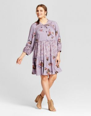 photo Plus Size Tie Front Dress Floral Print Mix by Xhilaration, color Purple - Image 1