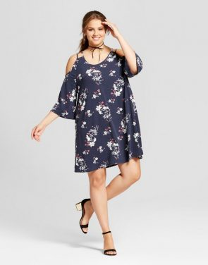 photo Plus Size Floral Printed Cold Shoulder Dress by Grayson Threads, color Floral Navy - Image 1