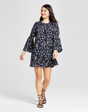 photo Printed Bell Sleeve Shift Dress by K by Kersh, color Navy|Multi - Image 1