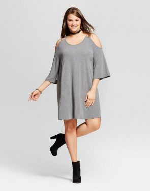 photo Plus Size Cold Shoulder Dress by Grayson Threads, color Charcoal Grey - Image 1