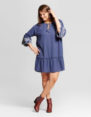 photo Plus Size Embroidered Dress by Grayson Threads, color Dark Blue - Image 1