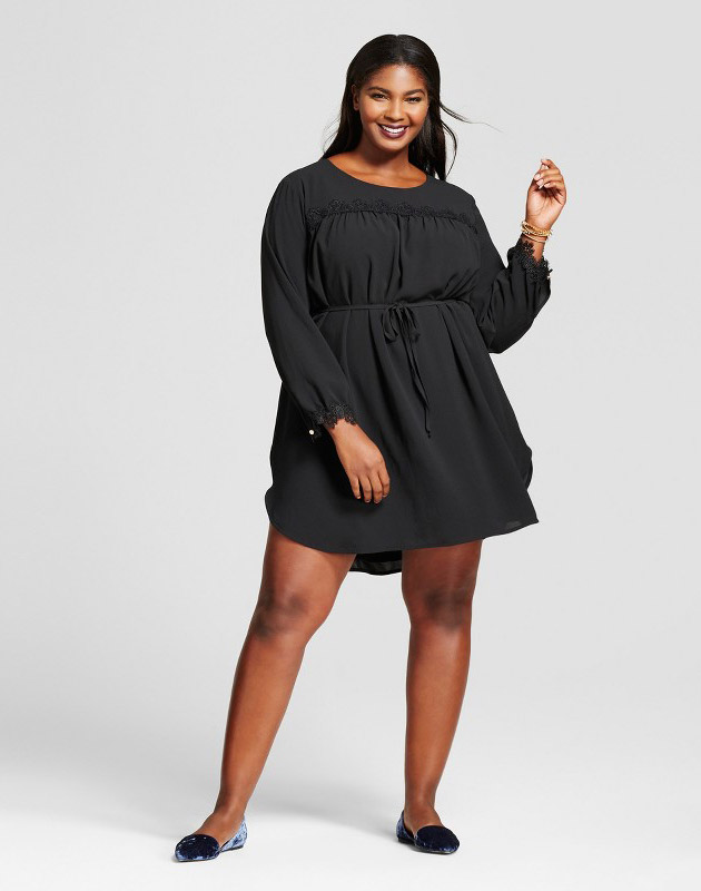 photo Plus Size Long Sleeve Lace Detail Crepe Dress by A New Day, color Black - Image 1