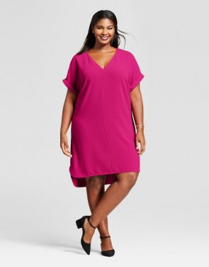 photo Plus Size Short Sleeve Crepe Dress by A New Day, color Magenta - Image 1