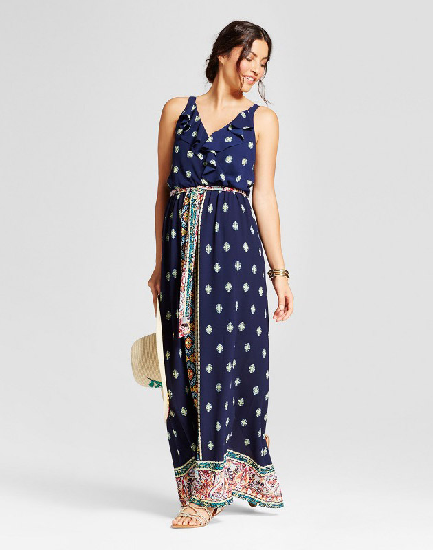 photo Border Printed Maxi Dress with Ruffle by Lux II, color Navy - Image 1