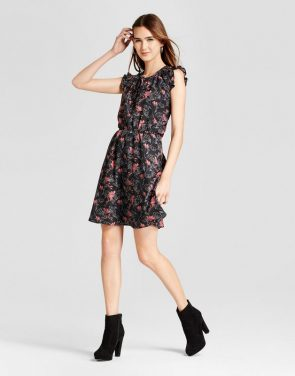photo Printed Ruffle Sleeve Dress by Layered with Love, color Black Red - Image 1