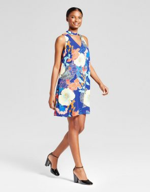 photo Printed V-Neck Trapeze Dress with Choker by Lux II, color Blue Combo - Image 1