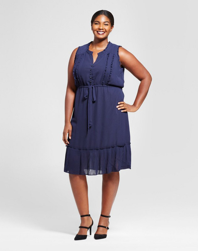 photo Plus Size Pleated Trim Midi Dress by A New Day, color Navy - Image 1