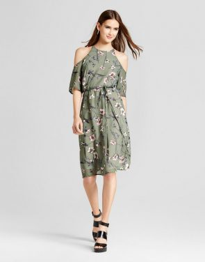 photo Floral Cold Shoulder Tie Waist Dress by Layered with Love, color Fgreen - Image 1