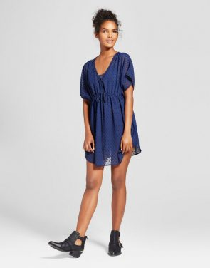 photo Mesh Dot Caftan Dress by Layered with Love, color Blue - Image 1