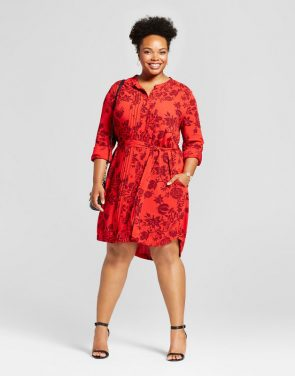 photo Plus Size Floral Printed Shirtdress by Ava & Viv, color Red - Image 1