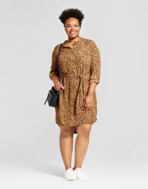 photo Plus Size Animal Print Shirtdress by Ava & Viv, color Brown - Image 1