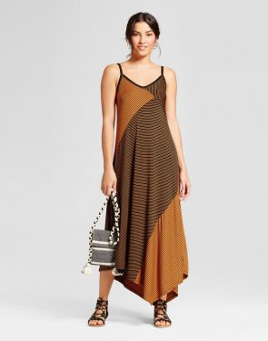 photo Mixed Stripe Knit Maxi Dress with Asymmetrical Hem by Spenser Jeremy, color Black Brown - Image 1